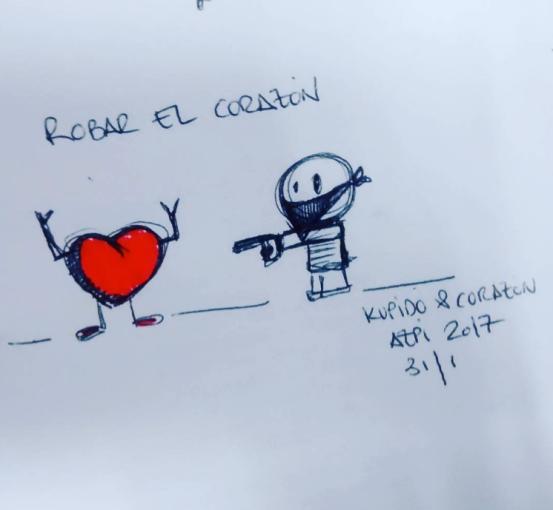 Kupido y corazón